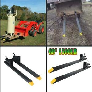 60 1500lb Capacity Clamp On Pallet Forks Loader Bucket Skidsteer Tractor Chain