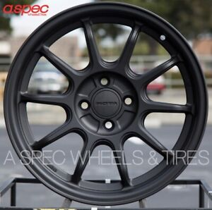 16x7 Rims Rota F500 4x98 35 Flat Black Wheels Set Of 4
