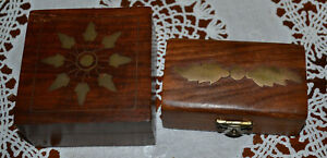 2 Small Vintage One Signed Archana Handcrafted Brass Inlay Wood Box