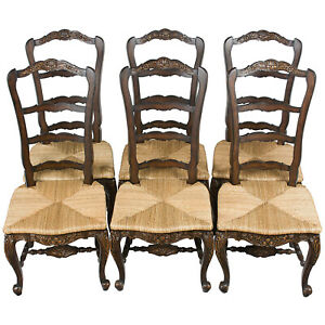 New Antique French Country Style Ladder Back Set Six Dining Room Kitchen Chairs