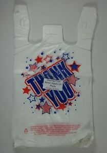 Thank You Americana T shirt Bags 11 5 X 6 X 21 White Plastic
