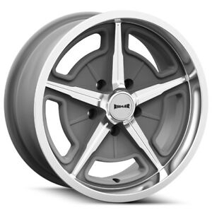 Staggered Ridler 605 Front 18x8 Rear 18x9 0mm 5x5 Textured Grey Wheels Rims