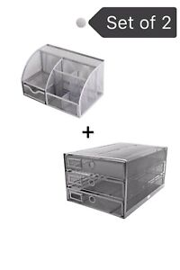 Exerz 2pcs Set Mesh Desk Organizer multifunctional Organizer silver