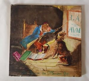 Charming Unique Antique Minton Large 21cm Tile In French With Dogs