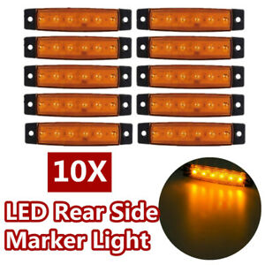 10pcs 6 Led Yellow Rear Side Marker Lights Lamp Position For Truck Trailer Lorry