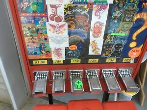 6 Slot Sticker Vending Machine 6ft Tall On Rack With 3 Gum Ball Prize Machine