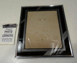 Vintage Art Deco Reverse Painting Photo Picture Frame 10x12 Black Silver Nice