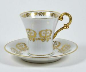 Vintage Bone China Demitasse Tea Cup Gold Scroll On White Hertel Jacob 1969