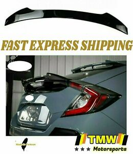 Painted Gloss Glossy Black Rear Trunk Spoiler Wing For Honda Civic X 10th 5dr