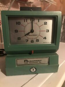 Acroprint Time Recorder Model 125nr4 Time Clock W Keys Barely Used Very Clean