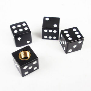 New 4x Black Dice Tire Air Valve Stem Caps Car Truck Bike Atv Wheel Rims G Af