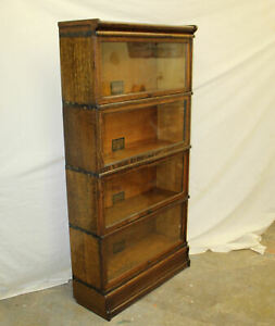 Antique Oak Sectional Bookcase Globe Wernicke 4 Sections All 12 1 4 Sections