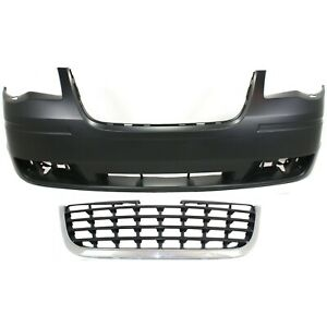 Bumper Cover Kit For 2008 2010 Chrysler Town Country Front 2pc With Grille