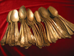 Lot Of 50 Antique Victorian Silverplate Table Serving Spoons Craft Flatware