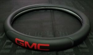 Brand New Gmc Black Pvc Leather Steering Wheel Cover 15 Inches