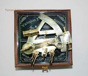 Kelvin N Hughes German Nautical Sextant Maritime Antique Sextant And Wooden Box