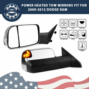 Chrome Left Right For 09 12 Dodge Ram 1500 Power Heated Amber Led Tow Mirrors