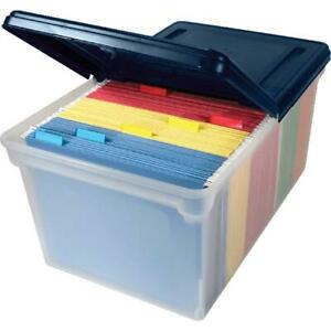 Innovative Storage Designs File Tote With Hinged Lid Letter Plastic Clear nav