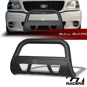 For 1997 2004 F150 Expedition Matte Black Studded Mesh Bull Bar Bumper Guard