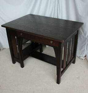 Antique Mission Oak Desk With Bookcase On The End Limbert Arts