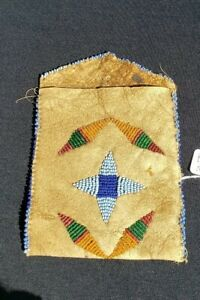Native American Indian Beaded Pouch Elk Hide From A Major Collection
