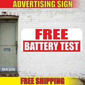 Free Battery Test Advertising Banner Vinyl Mesh Decal Sign Diagnostic Bike Auto