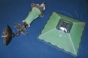 Nice Antique Harmony House Green Glass Hanging Ceiling Light