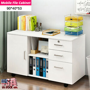 3 drawer And 1 Door Storage Mobile Rolling File Cabinet Locking Drawer Office
