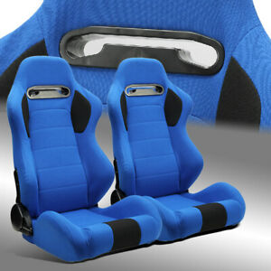 2 X Reclinable Blue Pineapple Seat Fabric Left Right Racing Bucket Seats Slider