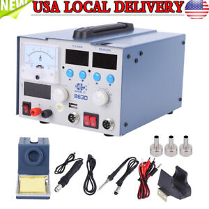 3 In 1 863d Smd Rework Soldering Station Hot Air Gun Solder Iron Dc Power Supply