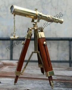 Antique 10 Nautical Brass Table Tripod Telescope With Adjustable Stand Maritime