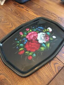 Vintage Russian Large Toleware Tray Wth Hand Painted Flowers 18 L X 12 1 2 W