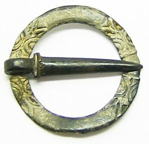 11th 12th Century Norman Medieval Silver Gilt Ring Brooch With Biting Beasts