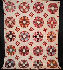 Antique Sunburt Quilt 1870 Appliqued Patchwork 93 X 72 Hand Quilted