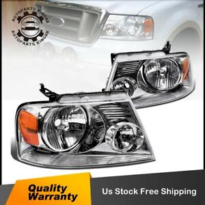 For 2004 2008 Ford F150 Pickup Pair Chrome Housing Amber Side Headlight Lamp Set