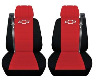 Truck Seat Covers 2004 Chevy Silverado Black Red Front Seats Custom Fit