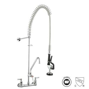 Commercial Pre rinse Faucet Kitchen Dishwasher 12 Add on Faucet Chrome Cupc Nsf
