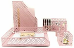 Office Supplies Pink Desk Accessories For Women 5 Piece Desk Organizer Set