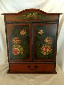 Vintage Wood Table Top Cabinet 2 Door Over Drawer Hand Painted Tole Florals Gdc