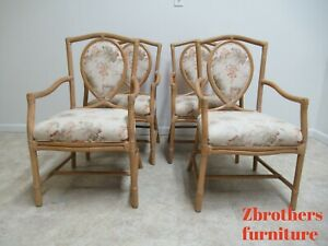 4 Vintage Rattan Bamboo Lancor Mcguire Style Dining Room Arm Chairs Set