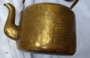 Antique 19th Qing Chinese Yixing Brass Or Bronze Teapot