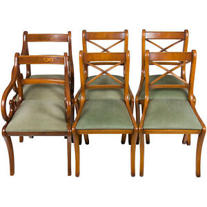 Vintage Antique Regency Style Set Of Six Light Yew Wood Dining Room Chairs