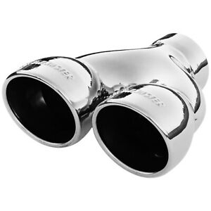 Flowmaster Exhaust Tip Dual 3 5 In Rolled Angle Polished Ss Fits 2 50 In