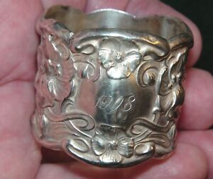 Vintage Sterling Silver Edwardian Era 1908 Engraved Napkin Ring
