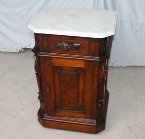 Victorian Walnut Marble Top Half Commode Carved Bird On Handle