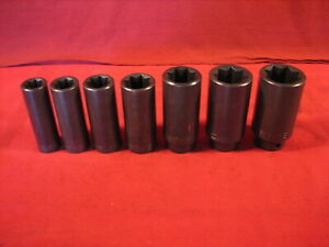 Vintage Wright Tools 1 2 Drive 8 Point Impact Socket Set 9 16 Thru 1 1 16