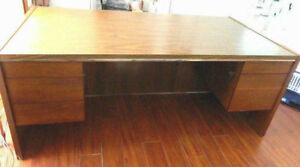 Desk And Credenza Large Furniture Executive Office Solid Wood 2 Pc Set
