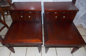 Pair Of Mid Century Mahogany Step End Tables Side Tables By Brandt T753