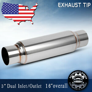 Universal Exhaust Muffler Resonator 3 Inlet Outlet Single Stainless Steel