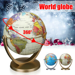 Earth Globe World Map Rotating Classroom Geography Kids Learning Desktop